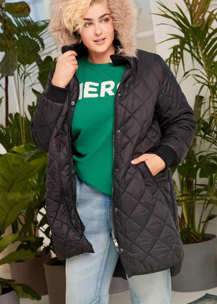 Quilted Hooded Jacket, , hi-res