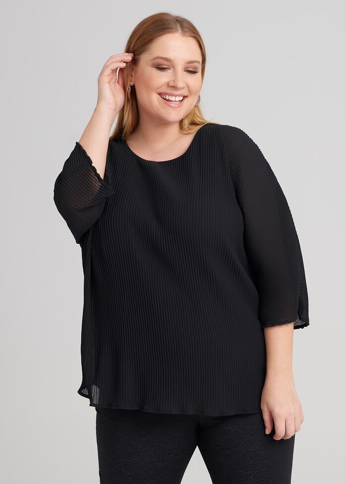 3/4 Sleeve Pleated Top, , hi-res