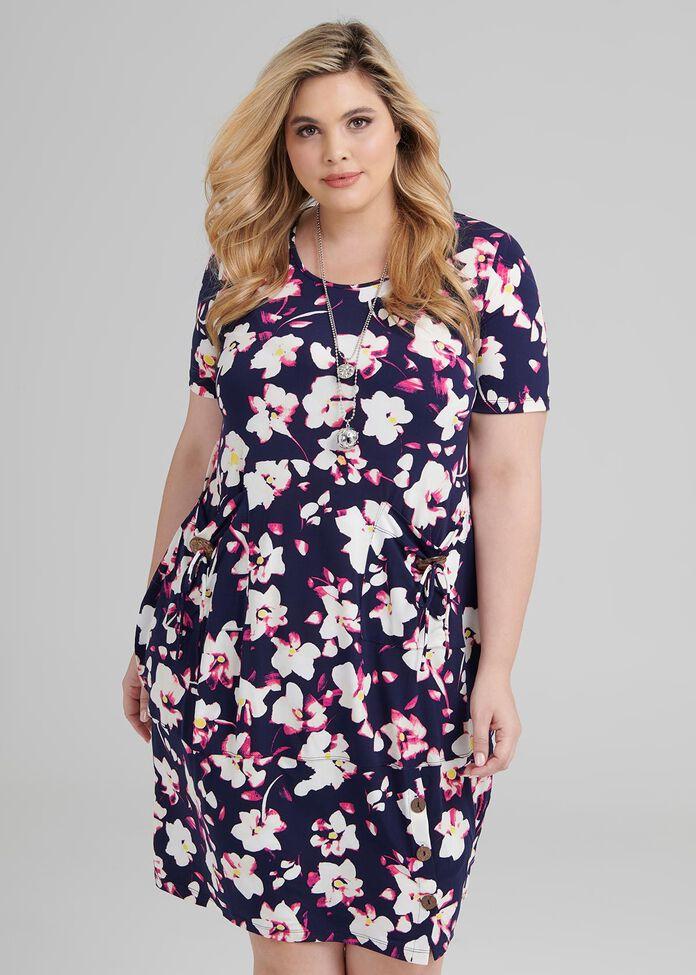 Fuschia Floral Dress, , hi-res