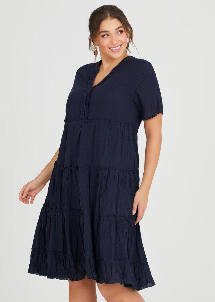 Cotton Mini Frill Dress, , hi-res