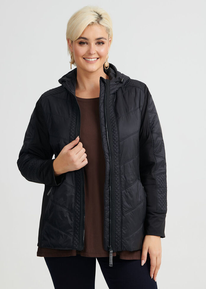 Luxe Quilt Hooded Jacket, , hi-res
