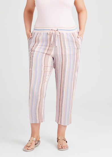Linen Oasis Stripe Crop Pant