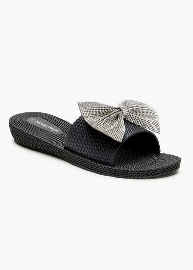 Bling Bow Slide Jelly Sandal