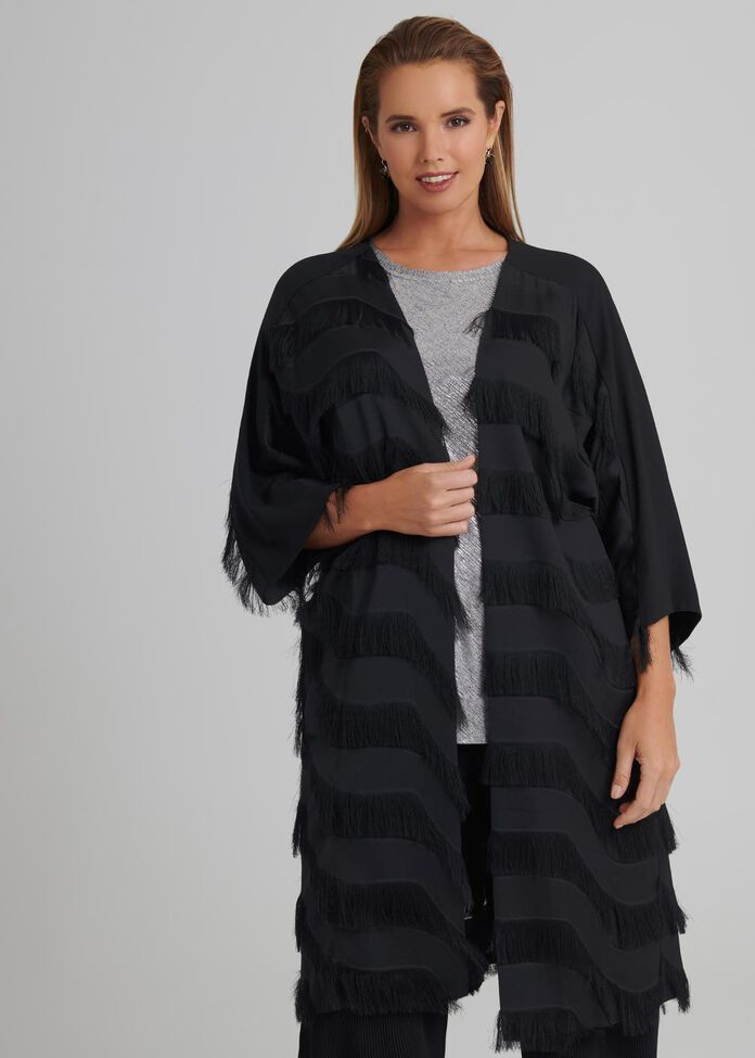 Inas Fringed Duster, , hi-res