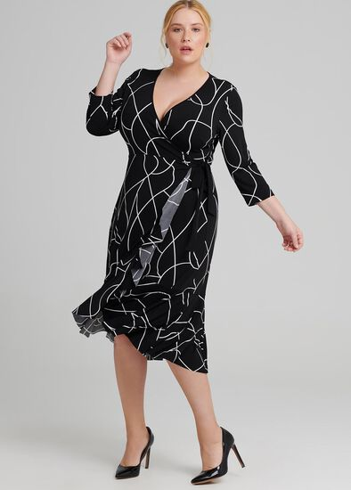 Reverse Scribe Wrap Dress