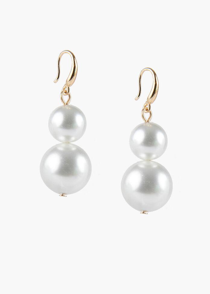 Double Pearl Earrings, , hi-res