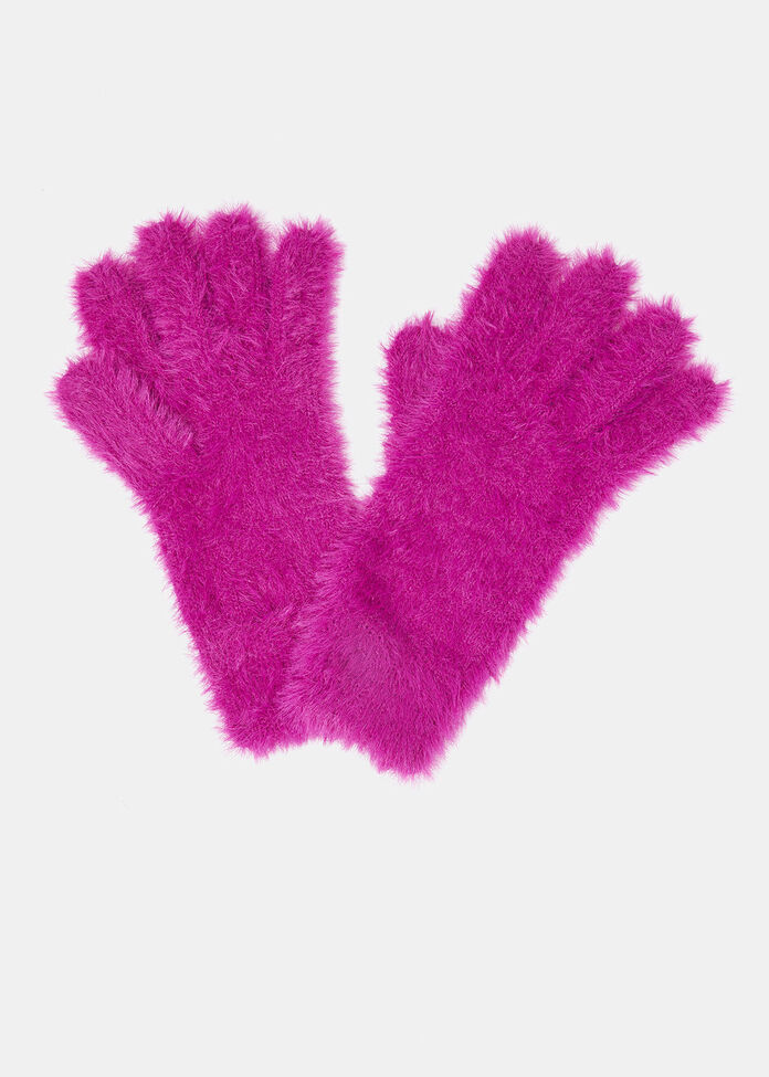 Fuzzy Knit Gloves, , hi-res