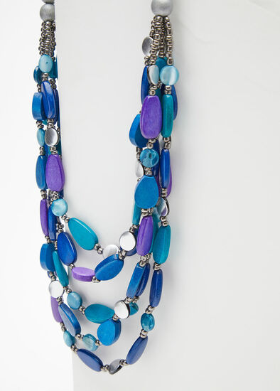 Blue Bead Layered Necklace