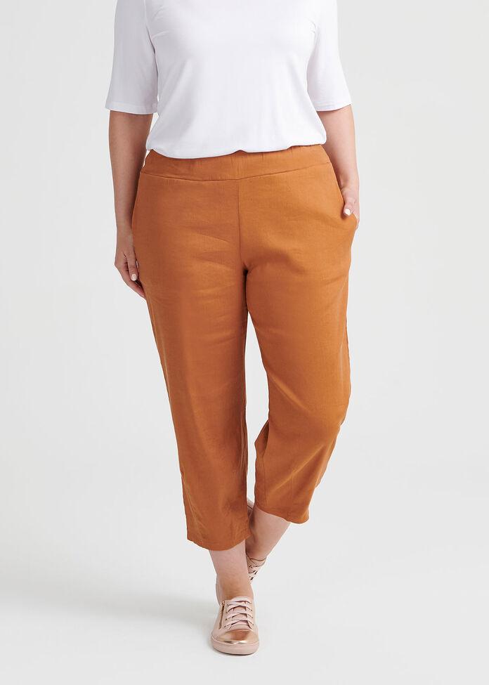 Latifa Linen Crop Pant, , hi-res