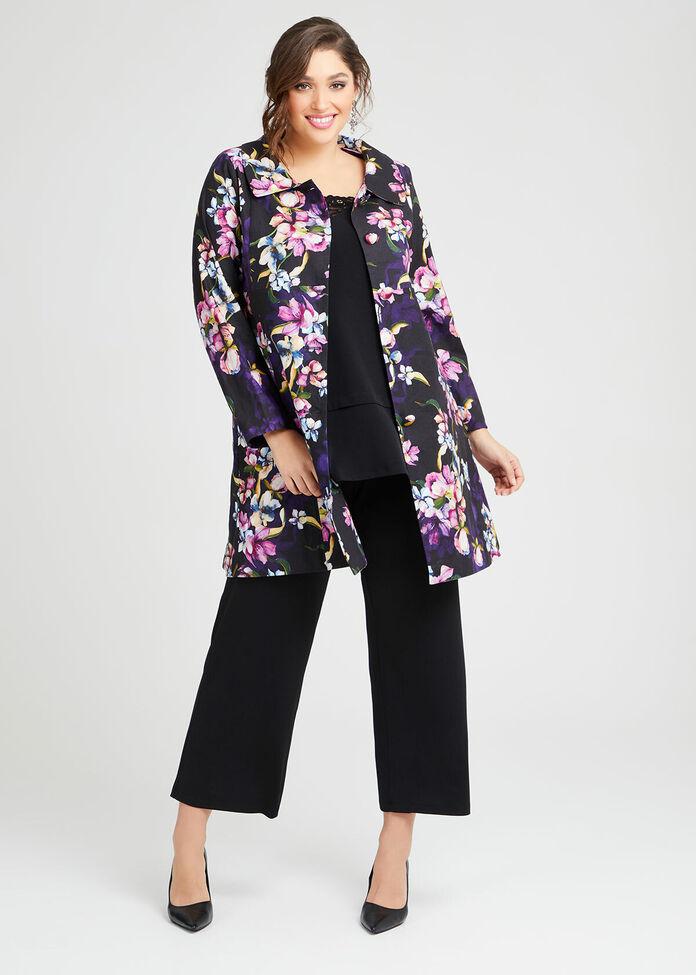 Majestic Flora Linen Coat, , hi-res