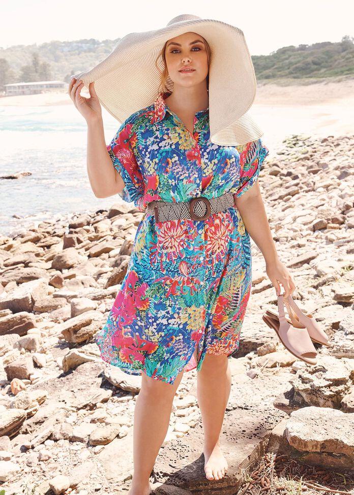 Natural Floral Dress, , hi-res
