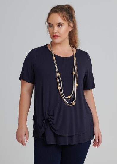 Navy Knit Knot Top