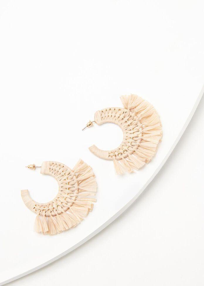 Raffia Hoop Earrings, , hi-res