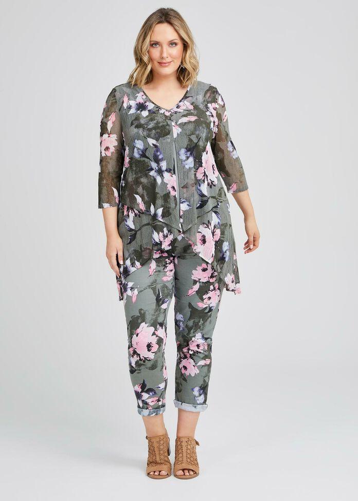 Floral Stretch Linen Pant, , hi-res