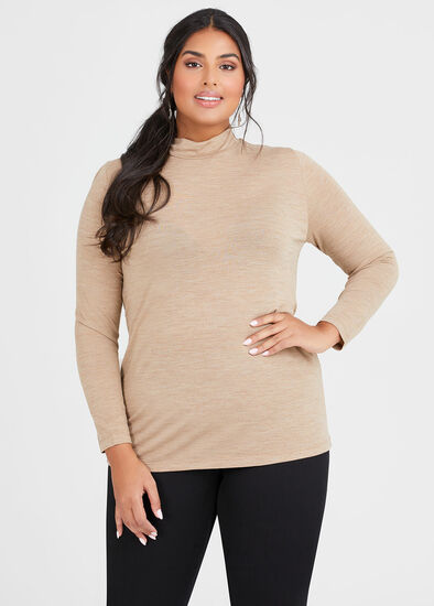 Wool Bamboo Mock Neck Top