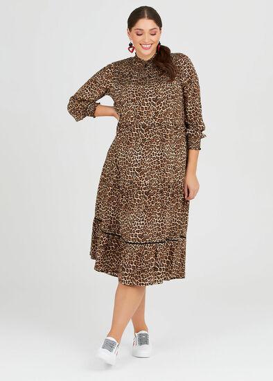 Natural Leo Shirred Dress