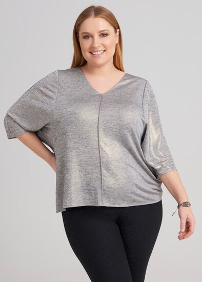Bat Wing Foil Knit Top
