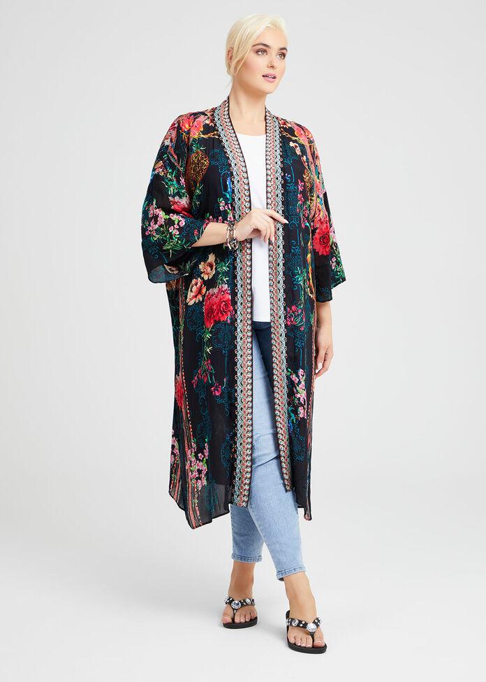 Natural Flower Power Kimono, , hi-res