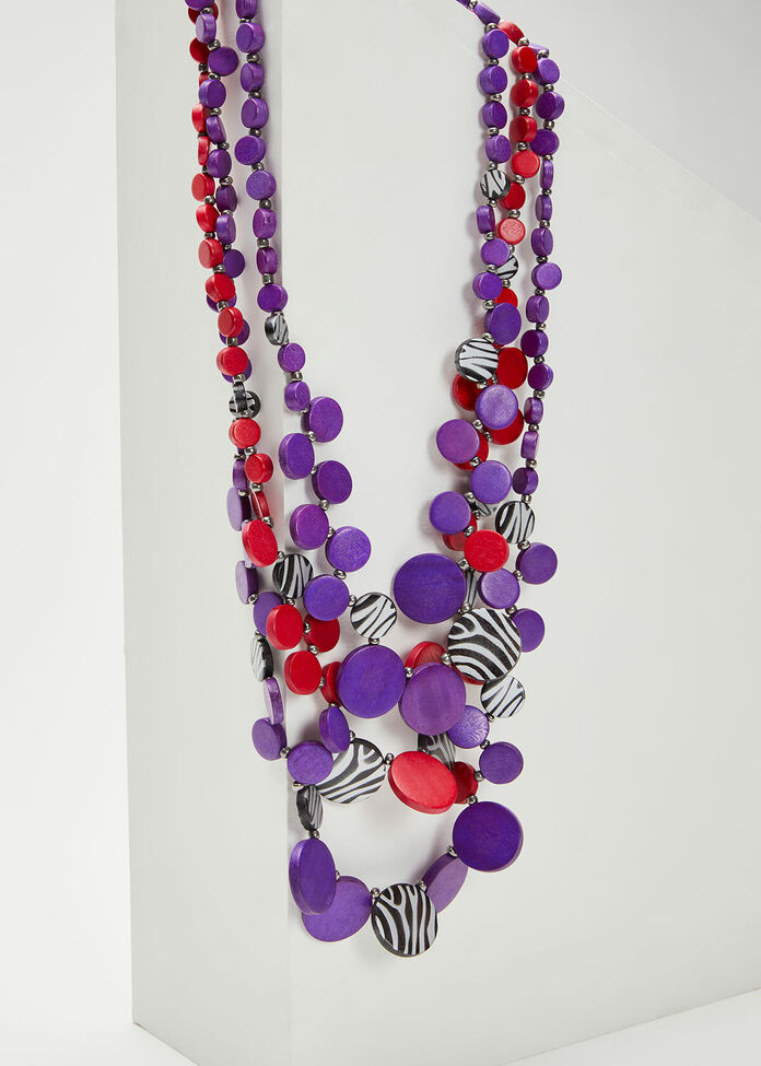 Bright Zebra Bead Necklace, , hi-res