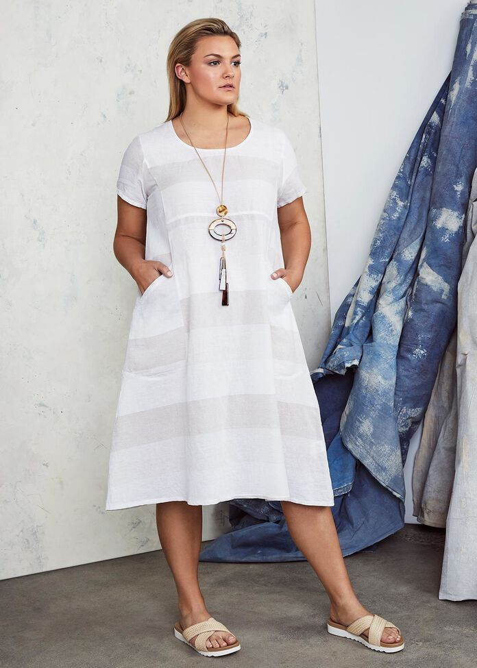 Felice Stripe Linen Dress, , hi-res