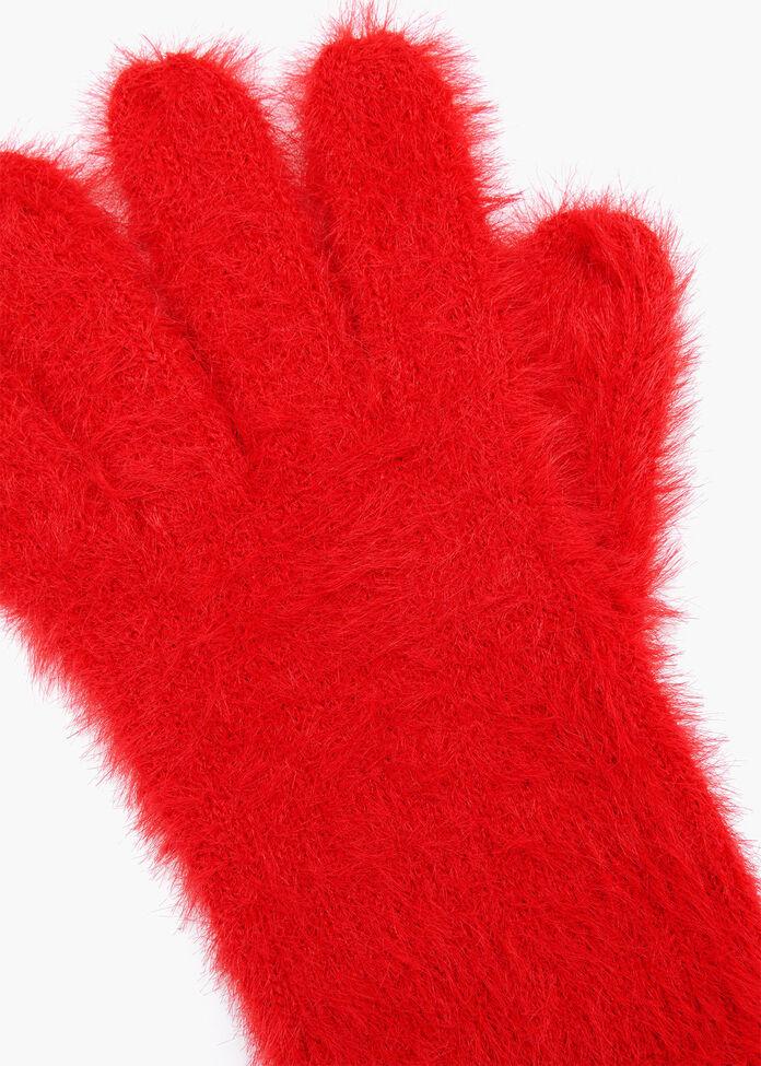 Fuzzy Knit Gloves, , hi-res