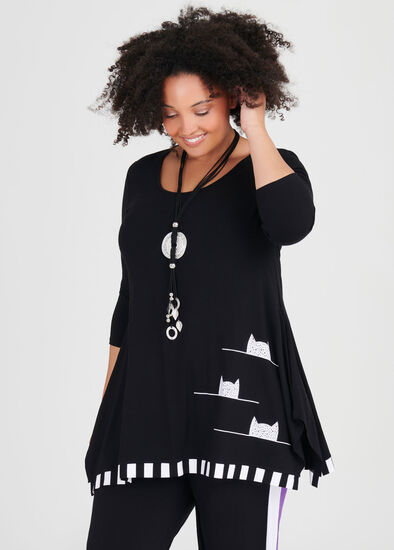 Natural Cat On The Line Tunic