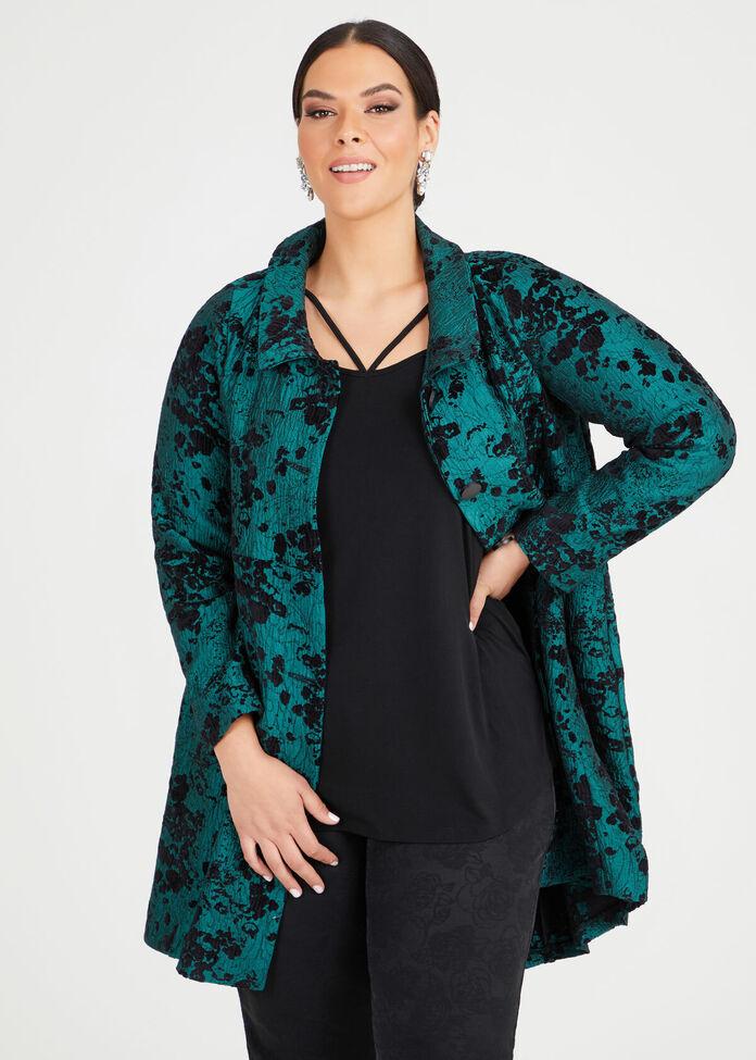 Emerald Jacquard Dress Coat, , hi-res