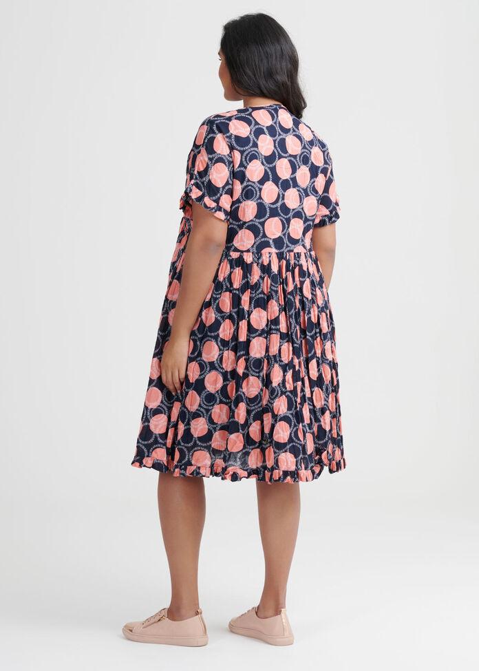 Cotton Graphic Spot Dress, , hi-res