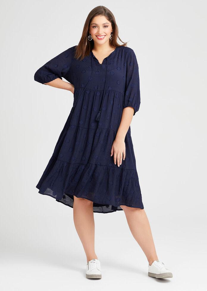 Natural Dobby Spot Dress, , hi-res