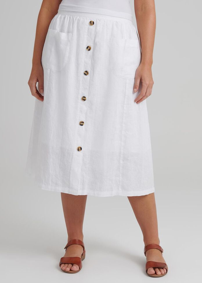 Button Linen Skirt, , hi-res