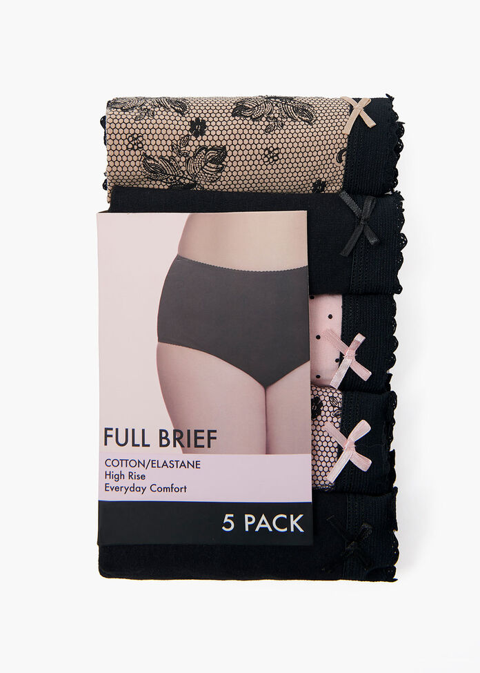 5 Pack Lace Print Briefs, , hi-res