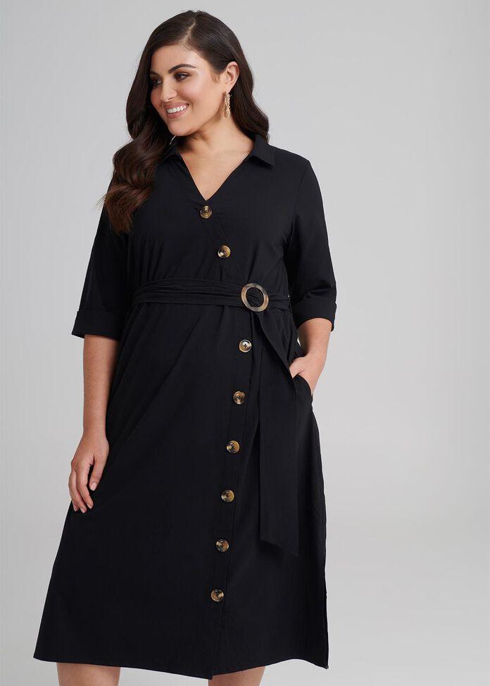 Wrap Button Dress, , hi-res