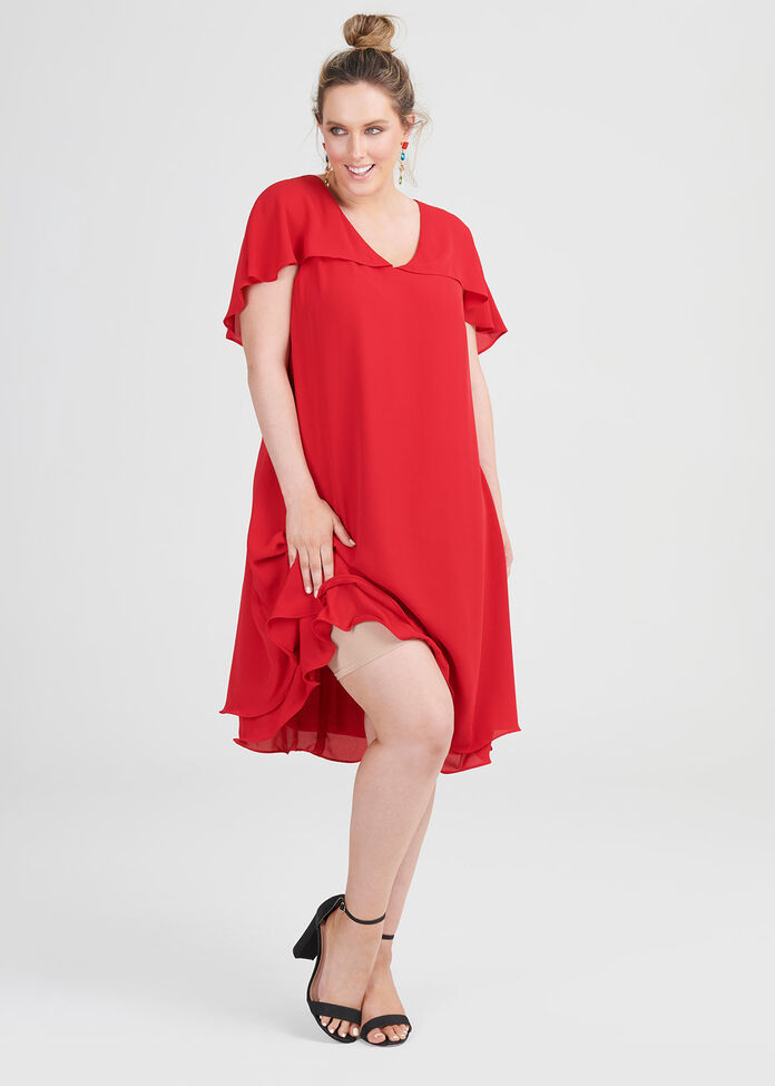 V-neck Drape Sleeve Cocktail Dress, , hi-res