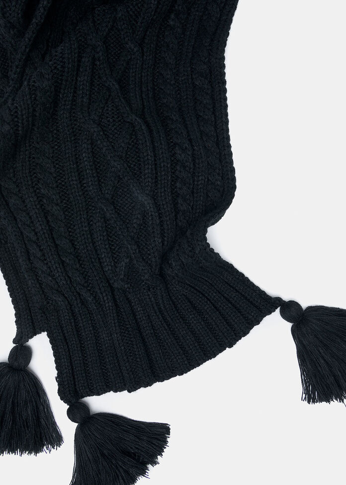 Tassel Hooded Scarf, , hi-res