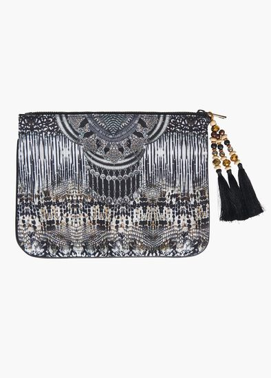 Animal Print Clutch With Tassel