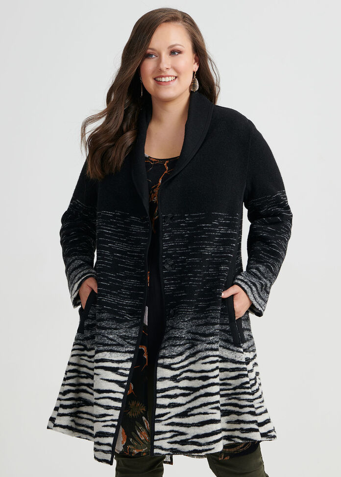 Zebra Boiled Wool Coat, , hi-res