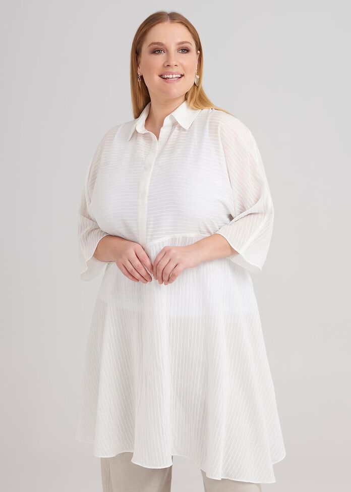 3/4 Sleeve Stripe Tunic, , hi-res