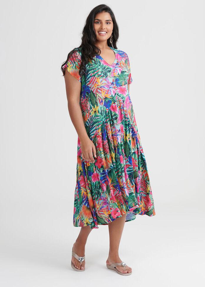 Natural Tropical Dress, , hi-res