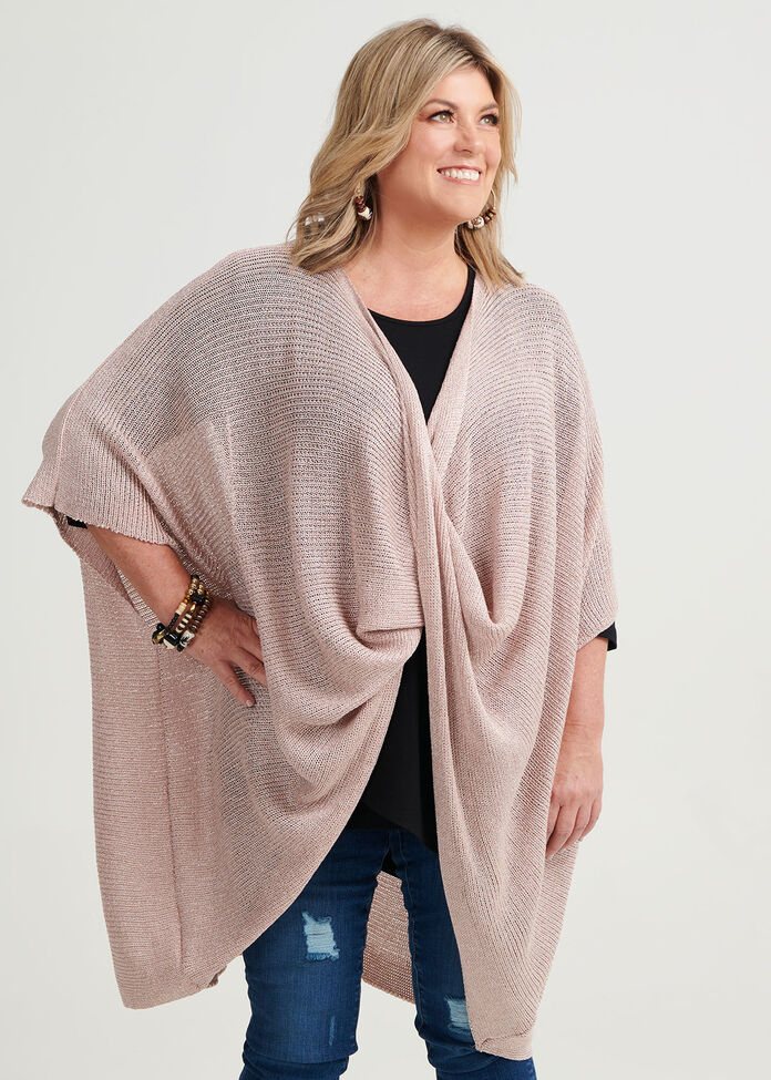 Blush Twist Front Poncho, , hi-res