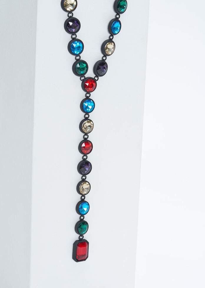 Faceted Jewel Y Necklace, , hi-res