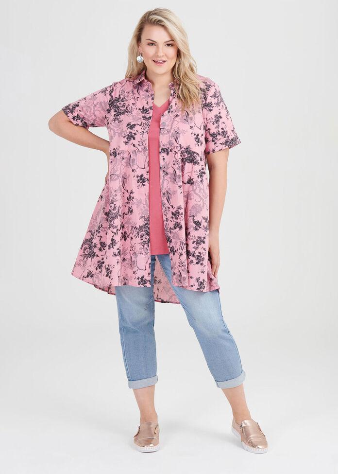 Cotton Floral Shadow Shirt, , hi-res
