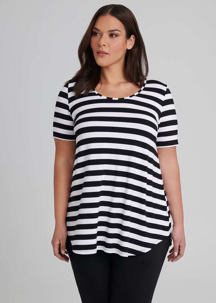 Bamboo Stripe S/slv Top, , hi-res