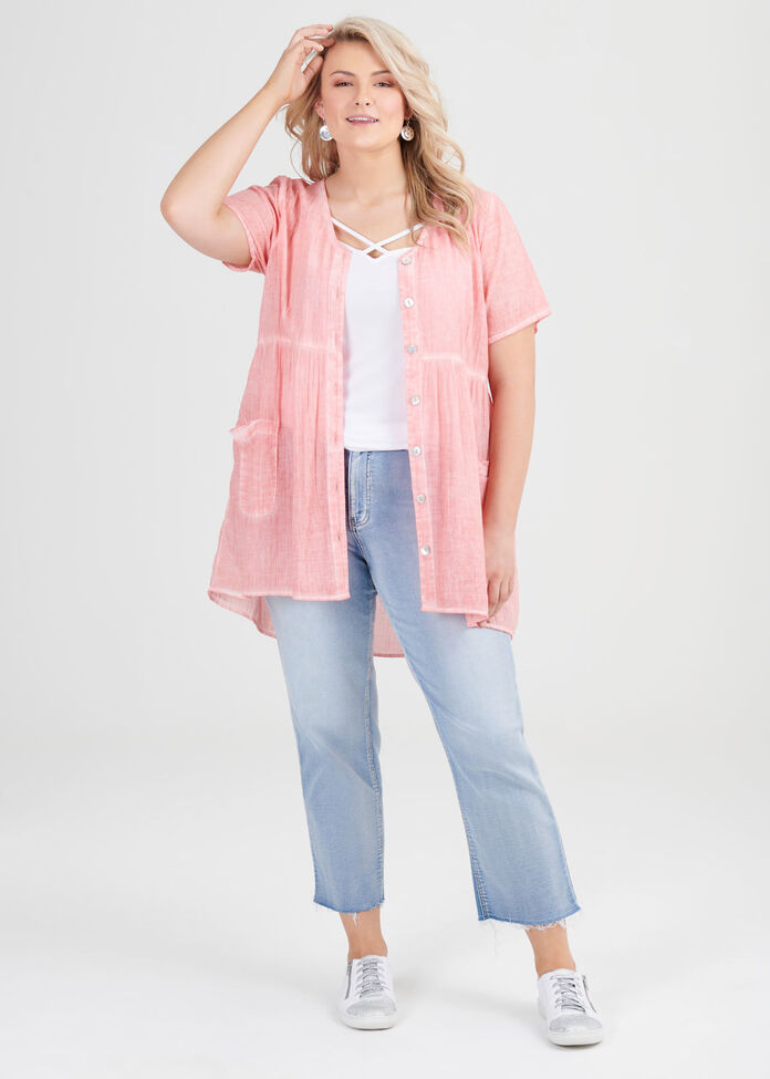 Cotton Sunset Button Top, , hi-res