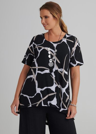 Abstract Print Hi Lo Top