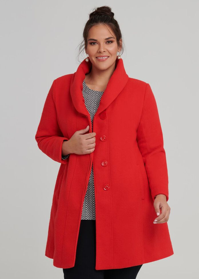 Cocoon Collar Coat, , hi-res