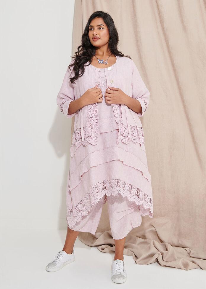 Linen Lace Jacket, , hi-res