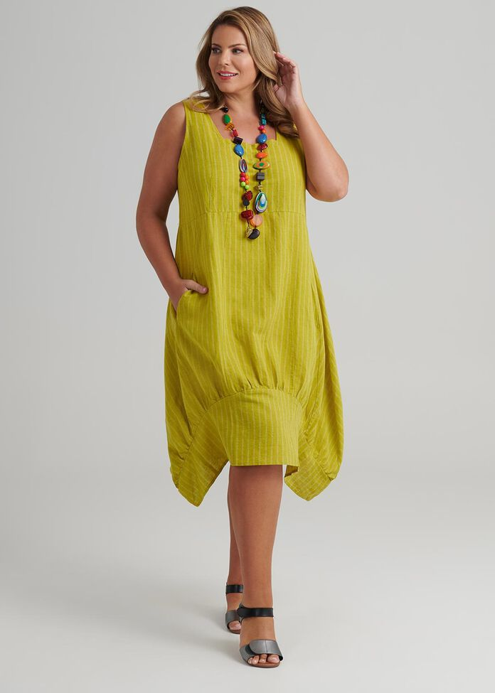 Linen Stripe Dress, , hi-res