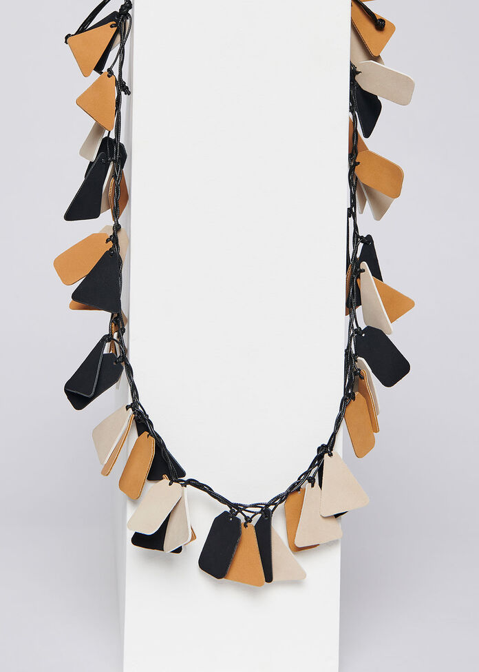 Leather Look Necklace, , hi-res