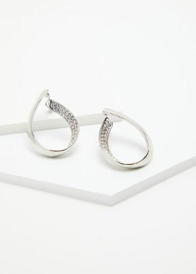 Crystal Loop Silver Earrings