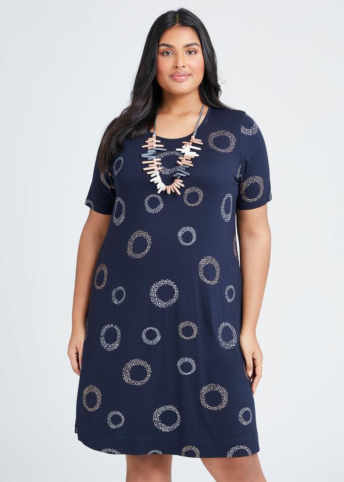 Bamboo Foil Circles Dress, , hi-res
